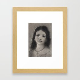 Indian Girl - in Charcoal Framed Art Print