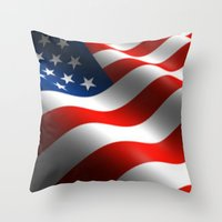 patriots Throw Pillows featuring Patriotic US Waving Flag  by Barrier Style & Design