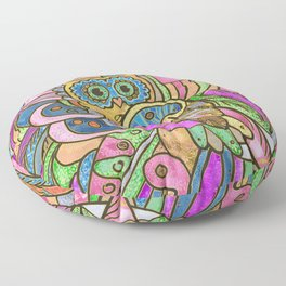 Colorful Pastel Owl Collage Floor Pillow