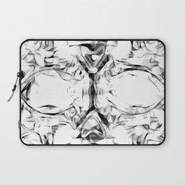 psychedelic skull art geometric triangle abstract pattern in black and white Laptop Sleeve