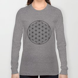 Flower of life in black, sacred geometry Long Sleeve T-shirt