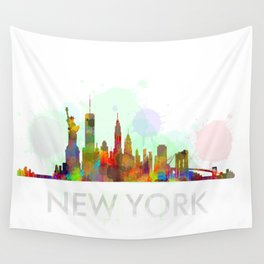 NY-New York Skyline HQ Watercolor Wall Tapestry