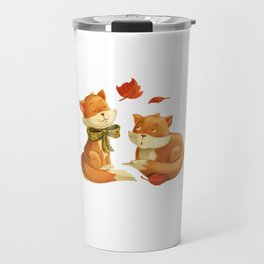 Two Cute Foxes at Night animal forest Travel Mug