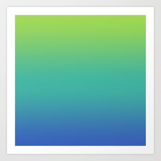 GREEN -> TEAL -> BLUE FADE Art Print