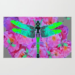 EMERALD DRAGONFLIES PINK ROSES GREY COLOR Rug