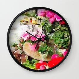 Paris Sidewalk Cafe With Pink Flowers Wall Clock
