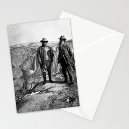 Teddy Roosevelt and John Muir - Glacier Point Yosemite Valley - 1903 Stationery Cards