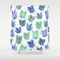 crystals Shower Curtains featuring Crystals by Marta Olga Klara