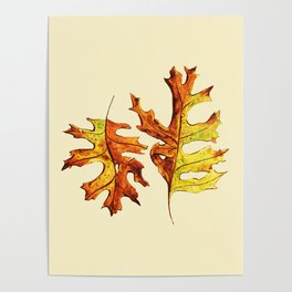 Ink And Watercolor Painted Dancing Autumn Leaves Poster