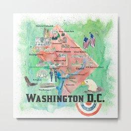 Washington DC USA Illustrated Travel Poster Favorite Map Tourist Highlights Metal Print