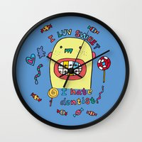 dentist Wall Clocks featuring I hate dentist by PINT GRAPHICS