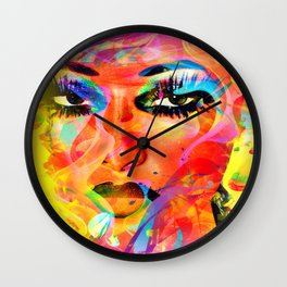 Colorful Abstract, Woman's Face Wall Clock