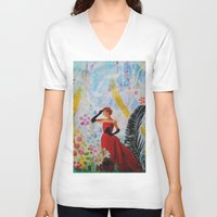 vogue V-neck T-shirts featuring Vogue by John Turck