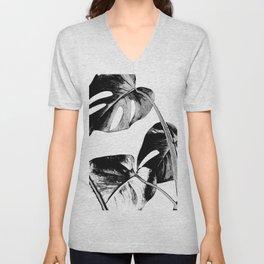 Black monstera leaves watercolor Unisex V-Neck