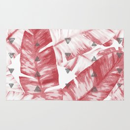 Dusty Rose Tropical Banana Leaves Arrows Design Rug