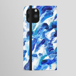 Turbulent Waves Original Abstract Oil Painting on Canvas, Blue, Silver 8x10in iPhone Wallet Case