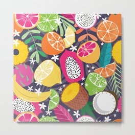Tropical fruit pattern 01 Metal Print