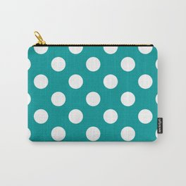 Viridian green - green - White Polka Dots - Pois Pattern Carry-All Pouch