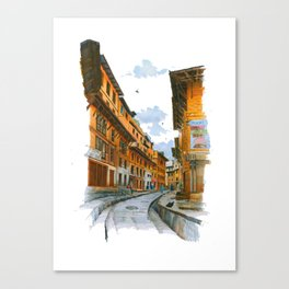 Traditional wooden buildings street in Kathmandu Canvas Print