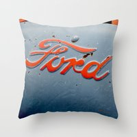 ford Throw Pillows featuring FORD by TMCdesigns