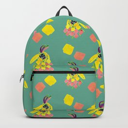 Bird head on turquoise pattern  Backpack