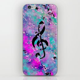 Artistic neon pink teal black watercolor classical music note iPhone Skin