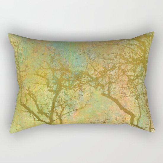 Golden Tree Silhouette, Rainbow Color Background Rectangular Pillow
