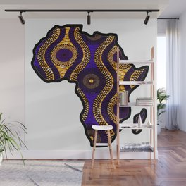 Purple and Gold Africa map Wall Mural