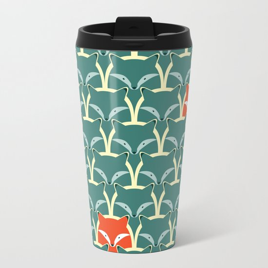 Seamless pattern with foxes and wolves Metal Travel Mug