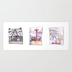 Coney Island Trio  Art Print