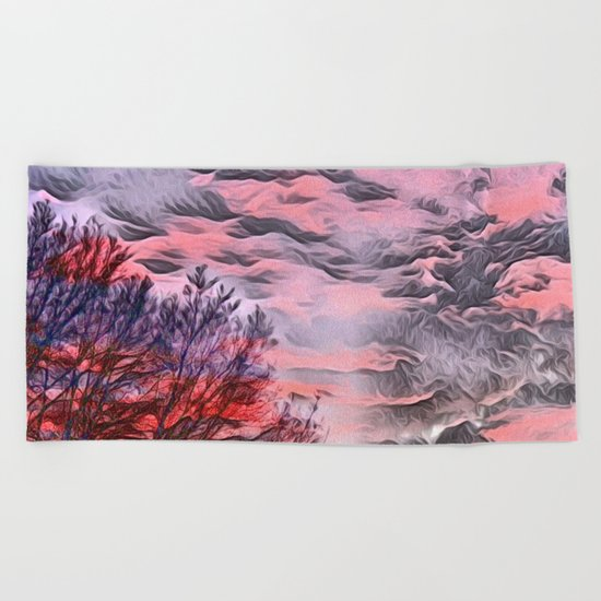 A German Sunset Sky with Tree (Landscape Nature) Beach Towel