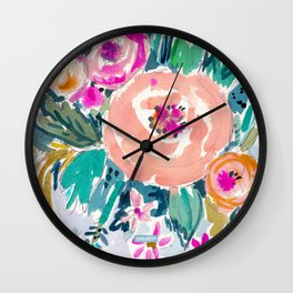 PEACH SPIN FLORAL Wall Clock