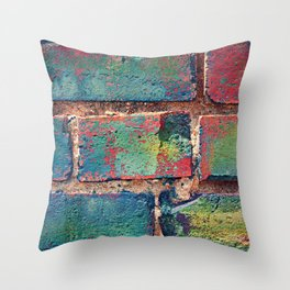 The Rainbow Brick Wall Throw Pillow