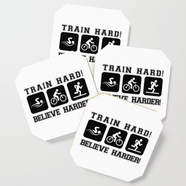 Triathlon Train Hard Gift Coaster