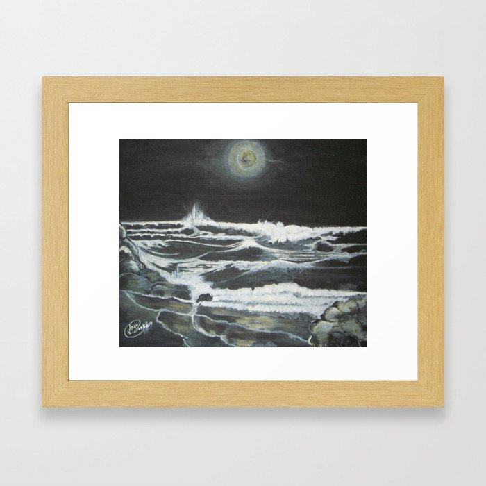 Raging Night Waves Framed Art Print