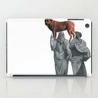 doge iPad Cases featuring plato n aristotle walking their doge by sharon