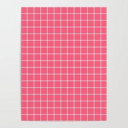 Brink pink - pink color - White Lines Grid Pattern Poster