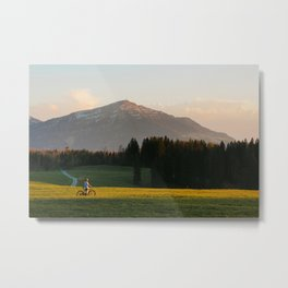 Sunset Bikeride Metal Print