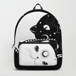 Cartoon black and white cats, yin yang sign Backpack