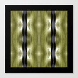 Garden Greens - Leek Leaf & Black Waves Canvas Print