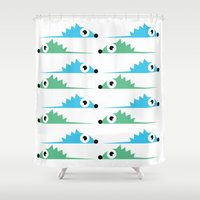 hedgehog Shower Curtains featuring hedgehog by mervey