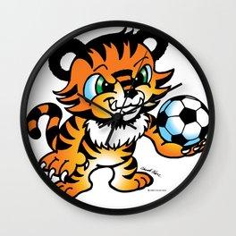 Soccer Tiger (color) square Wall Clock
