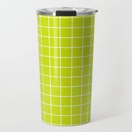 Bitter lemon - green color - White Lines Grid Pattern Travel Mug