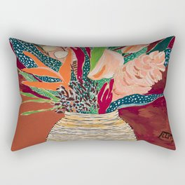 Autumnal Bouquet of Flowers in Woven Basket Vase on Warm Auburn Rust Still Life Fall Floral Painting Rectangular Pillow