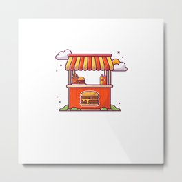 Burger stand fast food street shop with french fries and sauce Metal Print