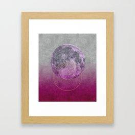 Pink Moon geometric circle mixed media Framed Art Print