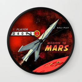 Mission To Mars Retro Pinball Wall Clock