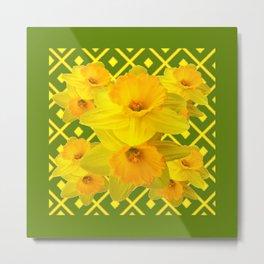 Moss Green Yellow Spring Daffodils Art Metal Print