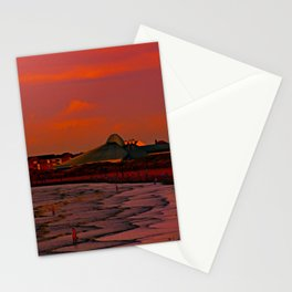 Gormley Statues on the beach at Sunset Stationery Cards