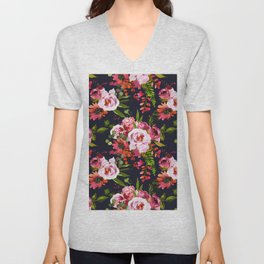 Hand painted black pink red watercolor roses floral Unisex V-Neck